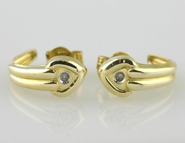 Ohrringe Stecker Halbcreolen 585/000 14 K Gelbgold, 2 Diamanten zus. 0,01 ct
