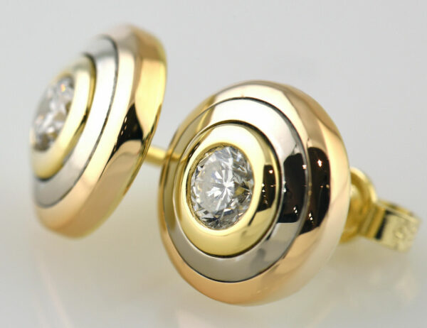 Ohrstecker 585/000 14 K Gelb-/ Rot-/ Weißgold, 2 Brillanten zus. 0,60 ct
