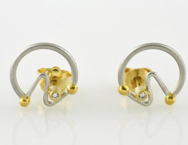 Ohrstecker 950/000 Platin / 750/000 Gelbgold, 2 Brillanten zus. 0,03 ct
