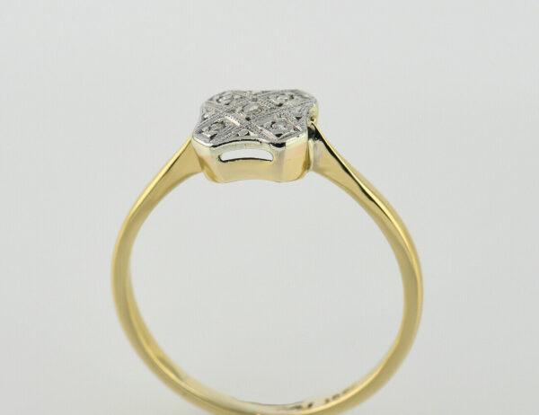 Ring 750 Gelbgold / 950 Platin 5 Diamanten zus. 0,05 ct