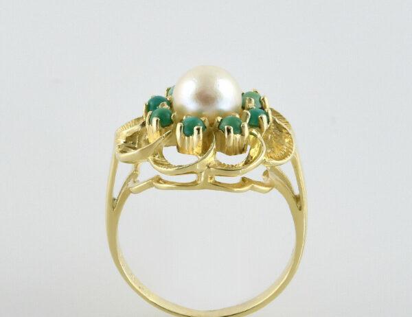 Ring Zuchtperle und Türkis 585/000 14 K Gelbgold
