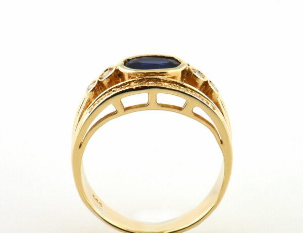 Saphir Diamantring 585 14 K Gelbgold 22 Diamanten zus. 0,24 ct