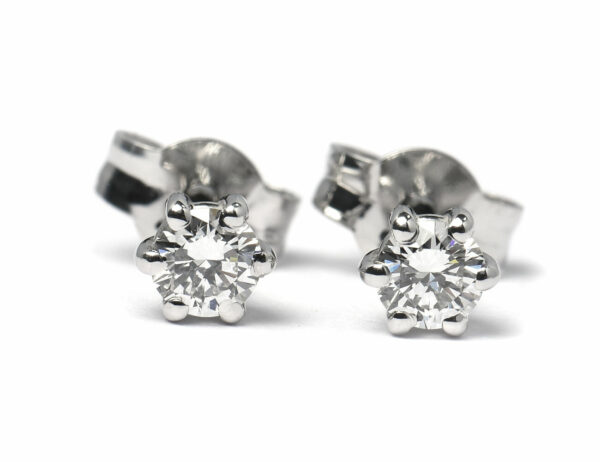 Solitär Brillant Ohrstecker Ohrringe 585 14 K Weißgold, 2 Diamanten zus. 0,32 ct