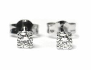 Solitär Brillant Ohrstecker Ohrringe 585 14K Weißgold, 2 Diamanten zus. 0,178 ct