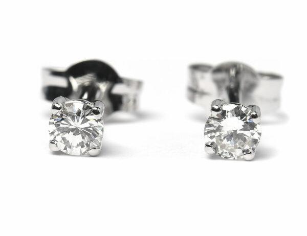 Solitär Brillant Ohrstecker Ohrringe 585 14K Weißgold, 2 Diamanten zus. 0,367 ct