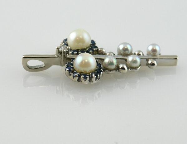 Anhänger 585 14 K Weißgold, Perlen, Saphire und 1 Brillant 0,03 ct
