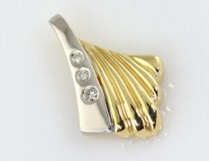 Anhänger Diamant 585/000 14 K Gelbgold 3 Brillanten zus. 0,08 ct