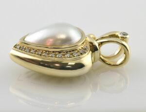 Anhänger Mabe´perle 585 14 K Gelbgold 25 Diamanten zus. 0,33 ct