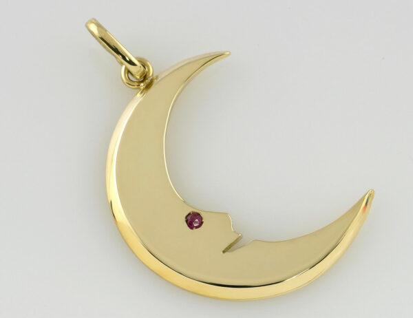 Anhänger Mond Rubin 585 14 K Gelbgold