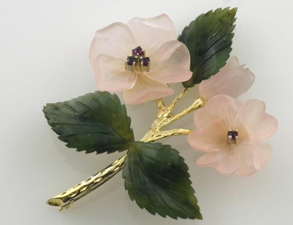 Brosche 585/000 14 K Gelbgold Jade, Rosenquarz, Rubin