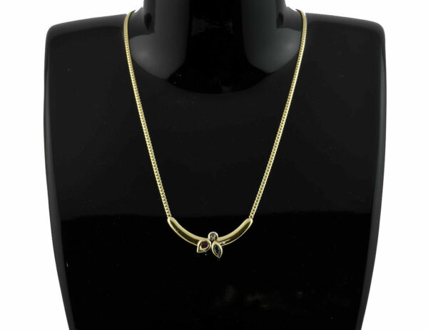Collier 585/000 14 K Gelbgold Rubin, Saphir, Diamant, 42 cm lang
