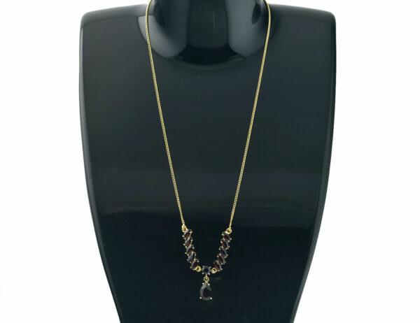 Collier Granat 333/000 8 K Gelbgold, 40 cm lang