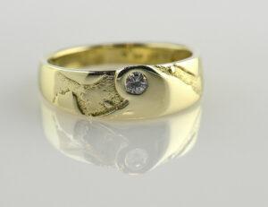 Diamant Ring 585/000 14 K Gelbgold Brillant 0,10 ct
