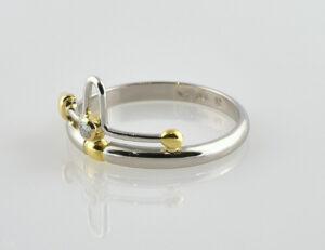 Diamant Ring 950/000 Platin / 750 Gelbgold Brillant 0,03 ct
