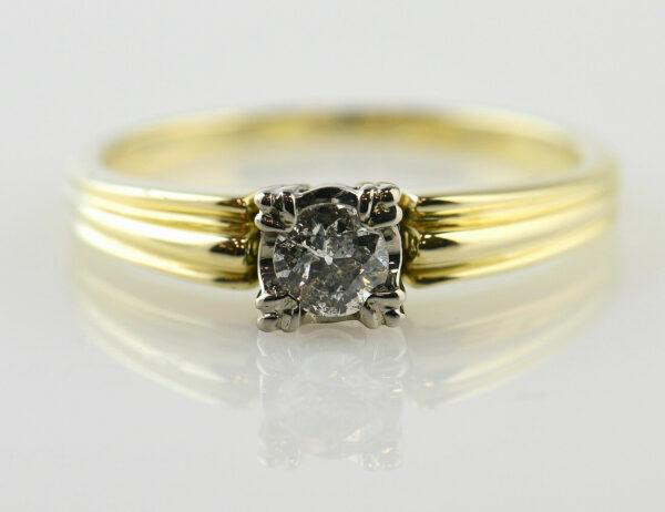Diamant Solitär Ring 585/000 14 K Gelbgold Brillant 0,30 ct