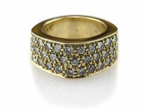 Diamantring 585 14 K Gelbgold 31 Diamanten zus. 1,00 ct