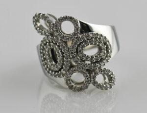 Diamantring 585 14 K Weißgold 132 Brillanten zus. 0,70 ct