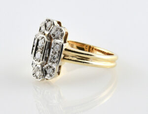 Diamantring 585/000 14 K Gelbgold 12 Brillanten zus. 0,40 ct