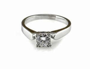 Diamantring Solitär 585/000 14 K Weißgold Brillant 0,58 ct