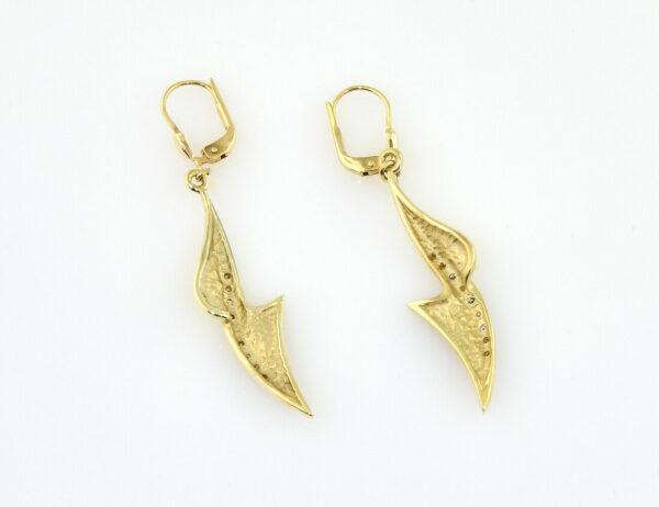 Ohrringe Hänger 585/000 14 K Gelbgold, 6 Diamanten zus. 0,02 ct