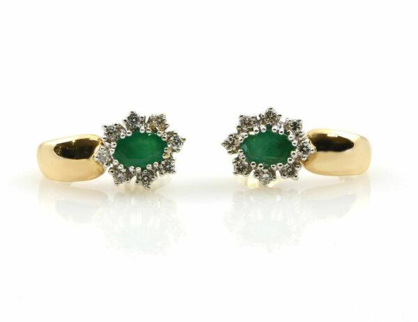 Ohrstecker Smaragd 585/000 14 K Gelbgold 16 Diamanten zus. 0,24 ct