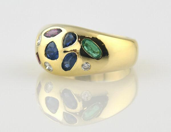 Ring, Dia, Saphir, Rubin, Smaragd 585 14 K Gelbgold 3 Brillanten zus. 0,24 ct