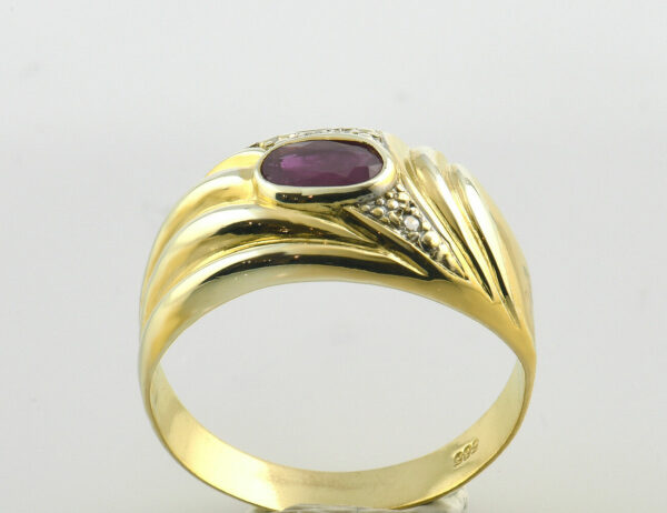 Rubin Diamantring 585 14 K Gelbgold