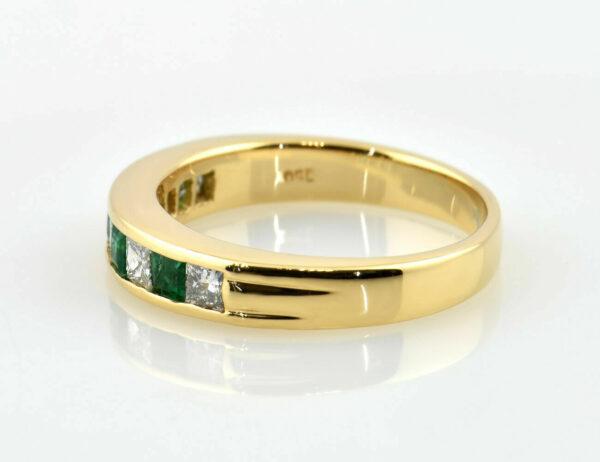 Smaragd Diamant Ring 750/000 18 K Gelbgold 5 Brillanten zus. 0,65 ct