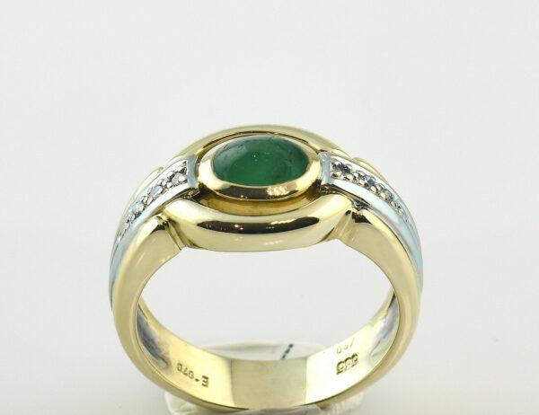 Smaragd Ring 585/000 14 K Gelbgold, 6 Diamanten zus. 0,07 ct