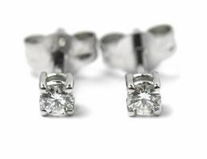 Solitär Brillant Ohrstecker Ohrringe 585 14 K Weißgold, 2 Diamanten zus. 0,19 ct