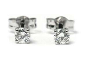 Solitär Brillant Ohrstecker Ohrringe 585 14 K Weißgold, 2 Diamanten zus. 0,42 ct