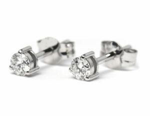 Solitär Brillant Ohrstecker Ohrringe 585 14K Weißgold, 2 Diamanten zus. 0,331 ct
