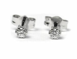 Solitär Brillant Ohrstecker Ohrringe 585 14K Weißgold, 2 Diamanten zus. 0,348 ct
