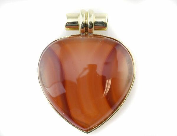 Anhänger Achat 375 9 K Gelbgold Herzform