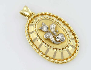 Anhänger Diamant 585/000 14 K Gelbgold 4 Brillanten zus. 0,28 ct