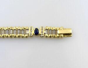 Armband Saphir 750/000 18 K Weiß-/Gelbgold 32 Brillanten zus. 0,50 ct 20 cm lang