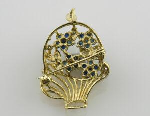 Brosche-Anhänger Saphir 585 14 K Gelbgold 14 Diamanten zus. 0,10 ct