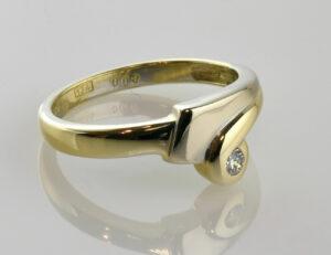 Diamant Ring 585/000 14 K Gelbgold Brillant 0,08 ct