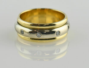Diamant Ring 750 18 K Gelb-Weißgold 8 Brillanten zus. 0,20 ct