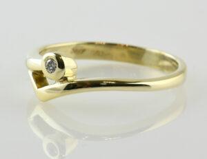 Diamant Solitär Ring 585/000 14 K Gelbgold Brillant 0,03 ct