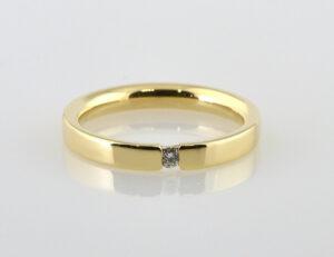 Diamant Solitär Ring 585/000 14 K Gelbgold Brillant 0,04 ct