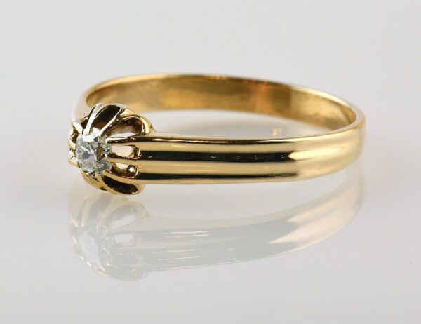 Diamant Solitär Ring 585/000 14 K Rotgold Brillant 0,14 ct
