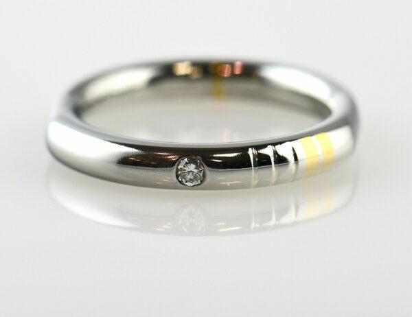 Diamant Solitär Ring 950/000 Platin / 750 Gelbgold Brillant 0,02 ct