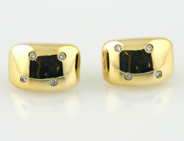 Ohrringe Clip 750/000 18 K Gelbgold, 8 Diamanten zus. 0,24 ct
