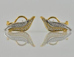 Ohrstecker 585 14 K Gelb/Weißgold, 46 Diamanten zus. 0,50ct