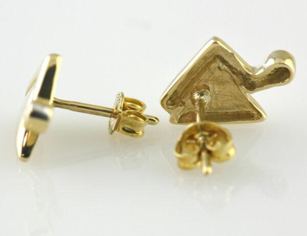 Ohrstecker 585/000 14 K Gelbgold, 2 Diamanten zus. 0,02 ct