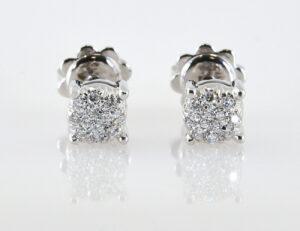 Ohrstecker 750/000 18 K Weißgold, 24 Diamanten zus. 0,25 ct