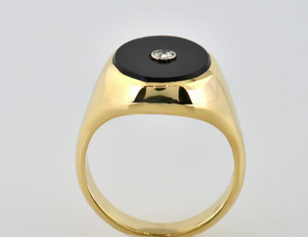 Onyx Ring 750 18 K Gelbgold Diamant 0,02 ct