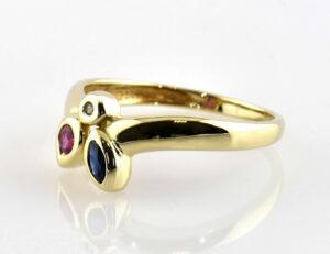 Ring Dia Saphir Rubin 585/000 14 K Gelbgold Diamant 0,01 ct