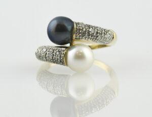 Ring Zuchtperlen 585/000 14 K Gelbgold, 20 Diamanten zus. 0,10 ct